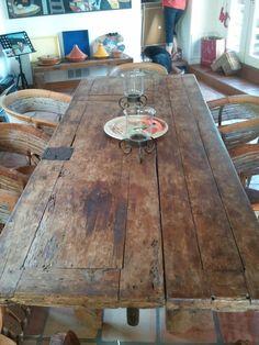 Mexican church door as a table.