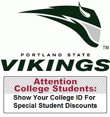 Here are some student discounted offers for the students attending college at Portland State University. Start your own Local Community Student Discount Program for your college or university. It's FREE to the school and the students... and we do all the work. All we ask is that you help to promote your student discount program to your students on and around campus.
