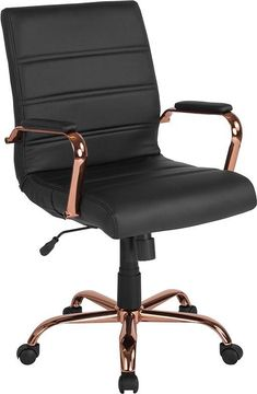 Mid-Back Black Leather Executive Swivel Chair w/ Rose Gold Frame & Arms - Flash Furniture your workspace with this stylish Mid-Back Leather Office Chair with Chrome Arms that is highlighted with attractive horizontal stitching. High Back Office Chair, Best Office Chair, Executive Office Chairs, Swivel Office Chair, Ergonomic Office Chair, Home Office Chairs, Office Decor, Black Office Chair, Designer Office Chairs