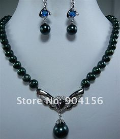 New Design Black Pearl Necklace &Shell/Jade Pendant Earring Set for sale Pearl Pendant Necklace, Jade Pendant, Shell Pendant, Gemstone Earrings, Silver Earrings, Cheap Jewelry, Jewelry Sets, Black Pearl Jewelry, Stone Pendants