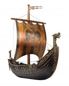 Antique Viking Ship Model isolated on white Stock Photo - 14193007