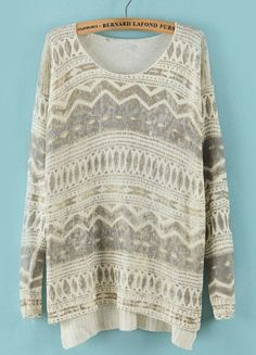 Beige Geometric Pattern Sweater