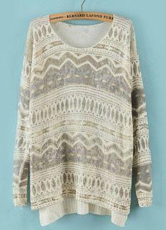 Beige Geometric Pattern Sweater