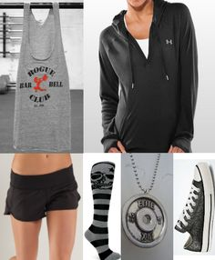 under armour, lulu, and....converse?! not so sure where those fit in  crossfit clothes