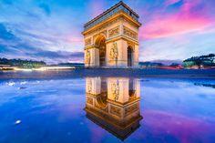 Arc de Triomphe puddle mirror at dusk by Loïc Lagarde on 500px