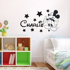 Online Shop DIY Removable Mickey Mouse Personalised Boys,Kids Bedroom Vinyl Wall Art Decal Wall Sticker 90X30CM Free Shipping|Aliexpress Mobile