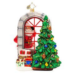 Christopher Radko A Glimpse of Christmas Santa and Christmas Tree Ornament