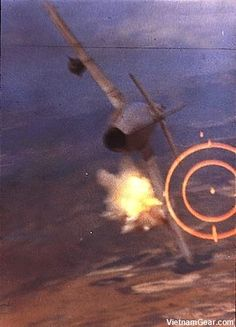 Major Ralph Kuster shoots down a North Vietnamese MiG-17 with his F-105's 20mm cannon.    The U.S. Air Force shot down 137 MiG fighters during the Vietnam War, 61 of which were MiG-17s.