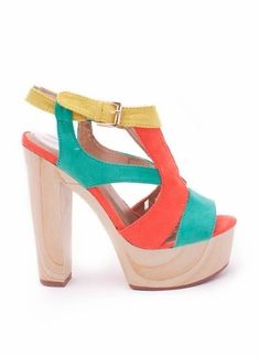 colorblock wooden chunky heel $28.20 in COBALT CORAL - New Shoes   GoJane.com - StyleSays