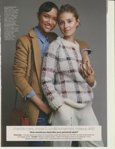 Model Charlotte Carey and makeup artist Cyndle Komarovski in the October Issue of Lucky Lucky Magazine, Androgynous Fashion, Ruby Rose, Tomboy, Charlotte, Men Sweater, October 2014, American, Casual