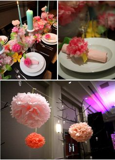 Tissue paper centerpiece | Paper Flower and Pillar Candle Centerpiece | OCCASIONS