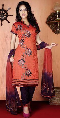 $51.74 Orange Cotton Resham Work Churidar Salwar Suit 26111