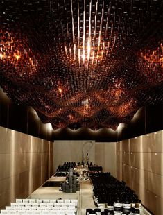 Aesop, Adelaide 'bottle' boutique ! The ceiling is entirely crafted from recycled bottles arranged in a wave pattern !  Aesop, Australia's boutique botanical skincare brand does not believe in 'standardising' their stores. Each of their stores follows its own innovative concept.