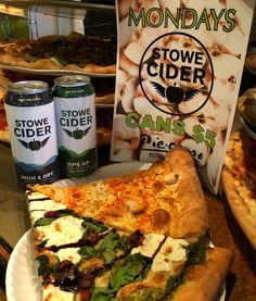 """""""Back to basics, pizza. We love pizza! Monday is $5 Stowe Cider cans - it's lunch time Stowe. @stowecider @rustic_creation #gostowe #eatstowe #piecasso"""""""