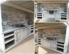 4 meters outdoor kitchen entirely made of recycled scrap pallets. Submitted by: Chris Grolleman !