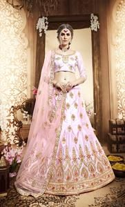 ce8efa9131 Light Pink With Dupatta Embroidered Designer heavy unstitched lehengas