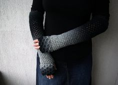 Fingerless Gloves mittens Extra long Arm warmers  by mareshop, $58.00