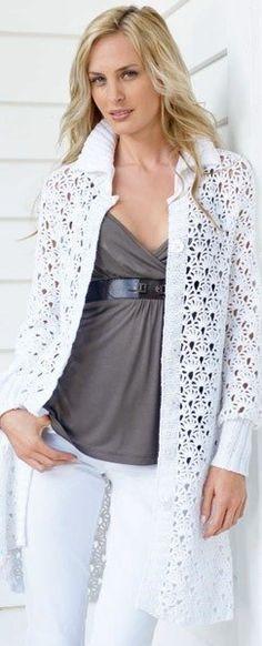 пальто вязание крючком модели