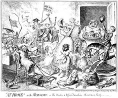 """§§§ . """"`At Home' in the Nursery, or the Masters & Misses Twoshoes' Christmas Party"""" by George Cruikshank (1826)"""