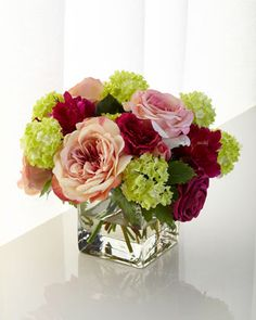 Pink+Roses+Faux-Floral+Arrangement+by+Natural+Decorations+Inc+at+Horchow.