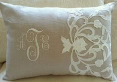 Wedding memory pillow. Piece of wedding dress hand sewn to taupe linen pillow, monogrammed with bride and groom initials on front and wedding date on back. A wedding keepsake. NellyBelle Designs