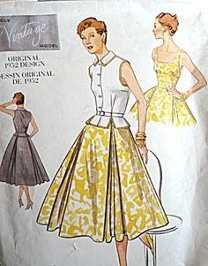 VOGUE VINTAGE MODEL DRESS PATTERN ORIGINAL 1952 DESIGN