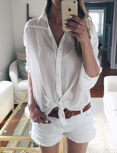 spring outfit ideas: tie front white button down