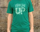 Vermont VT Sweatshirt, Men's American Apparel Forest Green Hooded Zip Hoodie. $49.99, via Etsy.