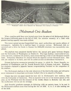 The upgraded Multnomah Civic Stadium in Portland, OR, where Oregon would play a couple football games each year, starting in 1926.  From the 1927 Oregana (University of Oregon yearbook).  www.CampusAttic.com