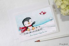 "greeting card - card - penguin - bird - christmas - winter -blue - red - ""Hello Friend!"""