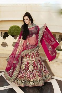 A fantastic bridal lengha or reception outfit for a great navy and magenta color scheme! #indianwedding #lengha #magenta