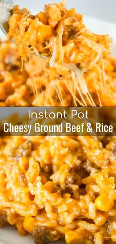 Instant Pot Cheesy Ground Beef and Rice is an easy dinner recipe perfect for weeknights. This Instant Pot rice dish is loaded with ground beef, corn, mozzarella and cheddar cheese. dinner Instant Pot Cheesy Ground Beef and Rice - This is Not Diet Food Crock Pot Recipes, Side Dish Recipes, Cooking Recipes, Crock Pot Dinners, Rice Dinners, Chicken Recipes, Beef Casserole Recipes, Cooking Cake, Venison Recipes