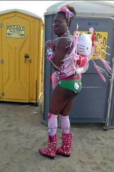 """While this person is ghetto fabulous in Hello Kitty overload, I'm more freaked out that the port-a-potties are called """"Pot-O-Gold"""" --Walmart Called. More of Your Photos Are Ready. Johnny Depp, Ghetto Fabulous, Wtf Moments, Awkward Moments, People Of Walmart, Provocateur, Lol, Pictures Of The Week, Crazy People"""