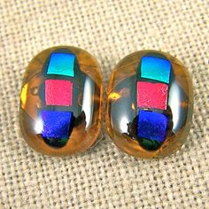 Dichroic Earrings  Golden Amber Gemstone Post or by HaydenBrook, $12.99