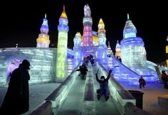 Ice Slides at Harbin Ice and Snow Festival in Heilongjiang province in northeastern China.