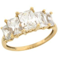 """Yellow Gold Five Stone White CZ Regal Designer Ladies Ring Jewelry"""" title= Womens Jewelry Rings, Statement Rings, Fashion Earrings, Turquoise, Stone, Lady, Bracelets, Yellow, Gold"""