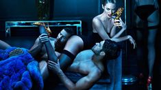 Sexy Shoes – Candice Swanepoel plays the roll of hedonist for the steamy fall 2012 campaign from shoe label Brian Atwood. Posing alongside male models Chad White, Kyle Ledeboer and Goncalo Teixeira; Candice wows in lingerie, heels and accessories lensed by Mert & Marcus.