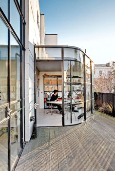 Home office with city view in London