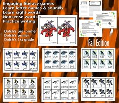 Engaging Literacy Games – CCS Aligned – Fall theme. Students learn and practice a variety of phonemic awareness, reading and writing skills from letter names and letter sounds, to nonsense words and sight words (Dolch's pre-primer, primer and 1st grade sight words). This packet includes 5 different games using scarecrows and different crow clipart cards for each game, with full directions. #literacy #reading #writing #commoncore #fall #autumn #sightwords #phonemicawareness #nonsensewords