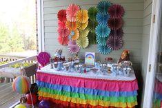 rainbow table decs, flowers and hot air balloon.