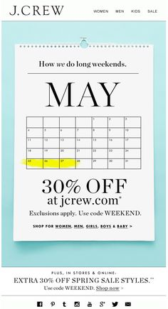J.CREW : Calendar Email