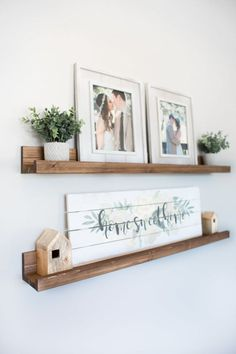 Rustic Wooden Picture Ledge Shelf Ledge Shelf Ledge Shelves Rustic Floating Shelf Wooden Shelf Rustic Home Decor Gallery Wall Gallery - Floating Shelves - Ideas of Floating Shelves Easy Home Decor, Cheap Home Decor, Picture Ledge Shelf, Photo Ledge Display, Wall Ledge, Photo Shelf, Shelf Display, Wall Décor, Picture Ledge Bedroom