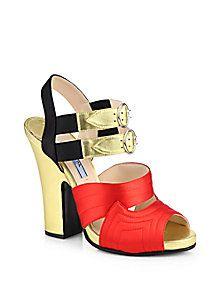 Prada - Bicolor Metallic Leather & Satin Platform Sandals