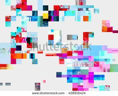 Glitched shapes. Random digital signal error. Abstract contemporary background made of colorful pixel mosaic. Element of design for a trendy poster, cover, business card, invitation or postcard.
