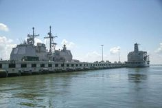 Caption: Ships docked at a double decker pier at Naval Station Norfolk (Alex Chancey) Naval Station Norfolk, Norfolk House, Natural Disasters, Climate Change, Caption, Virginia, Ships, United States, America
