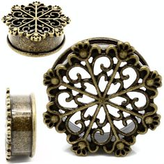 """Tribal Snowflake Design made from solid antiqued brass for that truly """"vintage"""" look. These plugs are single flare and true to size. From sizes 10mm or 00 gauge all the way to one inch . Just like all our plugs and tunnels at soscene.com shipping is always free with a 30 day money back guarantee :) Shop now for your next set of unique and high quality  plugs @ soscene.com   So Scene SO SCENE  BUY 2 GET 1 FREE ALWAYS"""