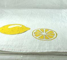 Lemon Tea Towel Hand Painted Print Vintage by MyBurlapHome on Etsy, $15.00