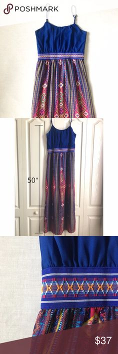 Pink Rose - Long Blue Tribal Dress Tribal printed long blue dress from Pink Rose 🦋 Size M, approx 50 inches from chest to hem, not including the adjustable straps ✨   • Feel free to offer! Most prices are negotiable • Bundle your items to save! 5% off 2+ • I do not trade • Fast shipping! Same or next day Any questions? Just message me! Pink Rose Dresses Maxi