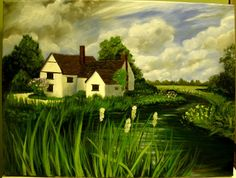 House with River Original Painting Landscape Oil by MARVINSTUDIO, $75.00