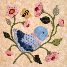 blk #2 blue bird Fantasy flowers quilt